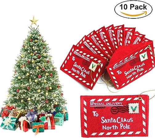 Navidad sobres, 10 unidades para árbol de Navidad para colgar adornos de Navidad decoración Tarjeta de Papá Noel Candy bolsa de regalo: Amazon.es: Hogar