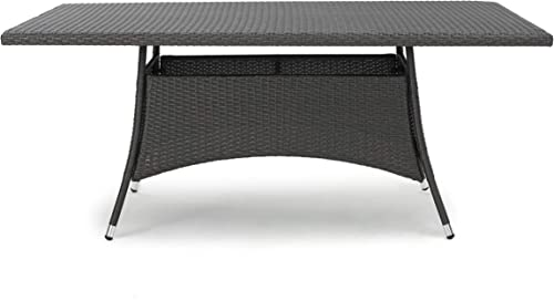 Christopher Knight Home Corsica Wicker Rectangular Dining Table, Grey
