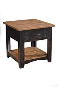 Martin Svensson Home 890135 Rustic End Table, Antique Black and Honey Tobacco