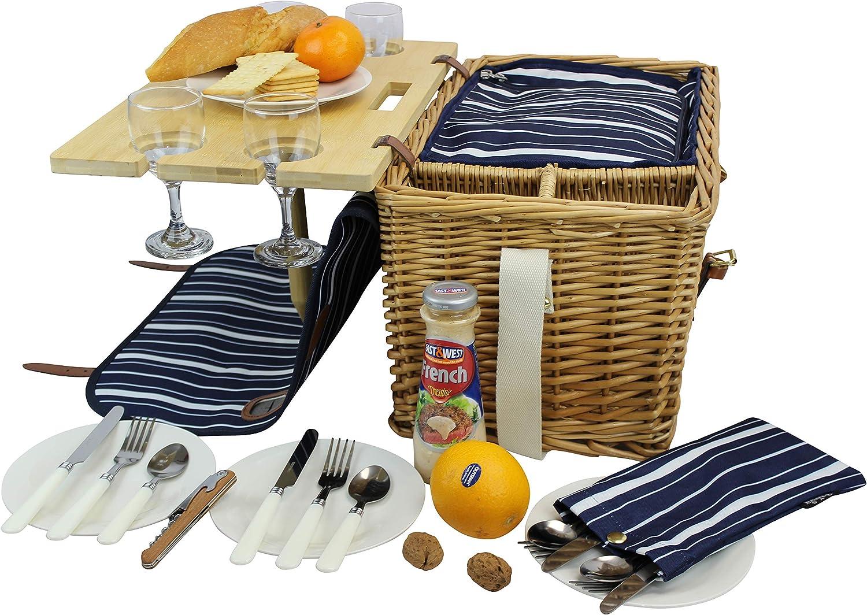CAMPING cesta Cesta de picnic de bamb/ú maleta de picnic para 2 Personas