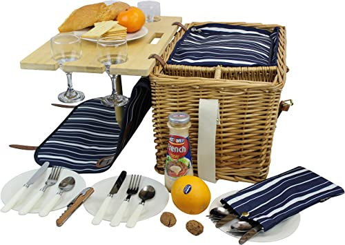Picnic Basket for 4 Removable Bamboo Table Cotton Canvas Top Cover 4 Person Set INSULATED Cooler Waterproof Picnic Blanket, Ceramic Plates, Metal Flatware, Wine Glasses Wooden Bottle Opener