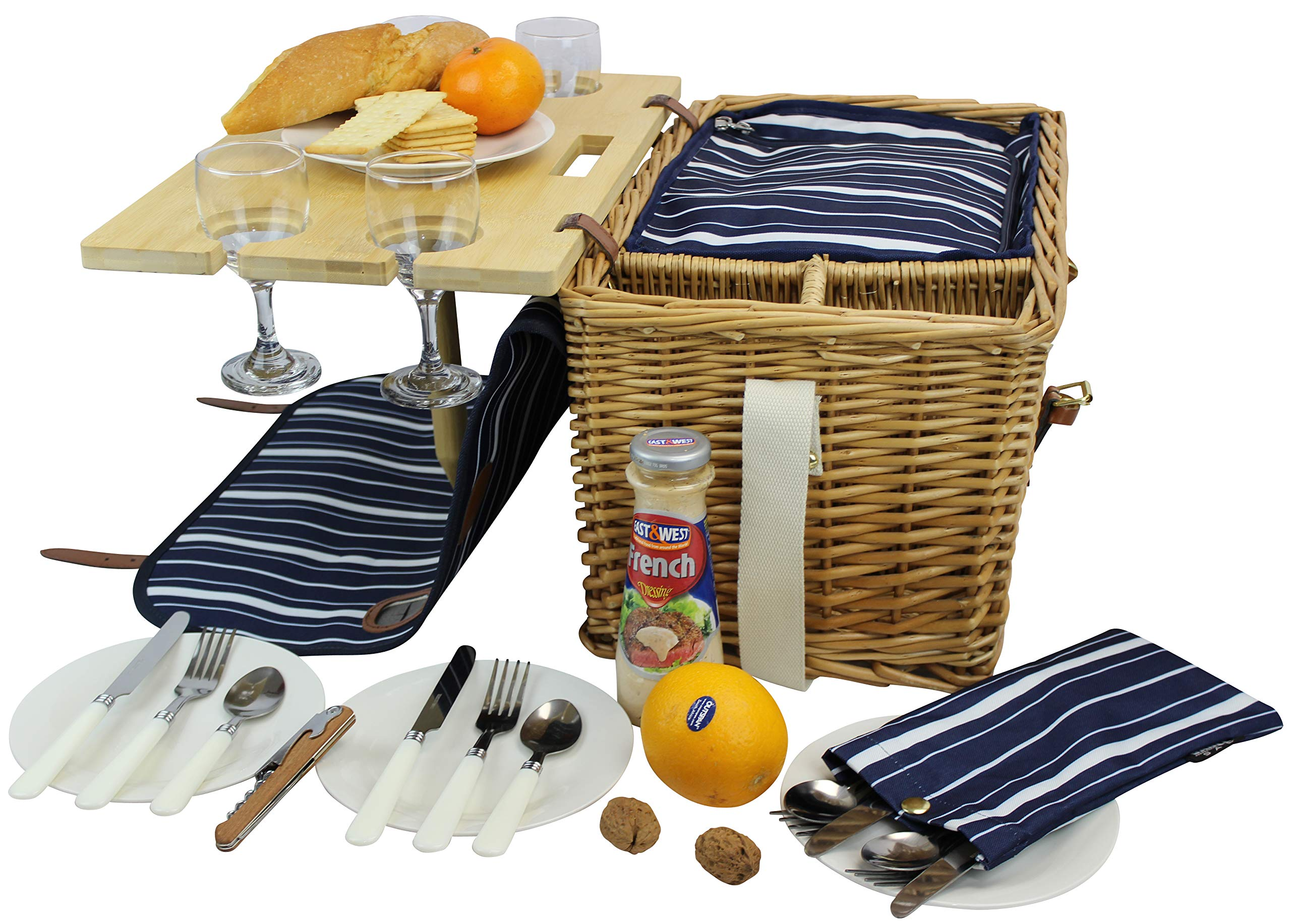 Picnic Basket for 4 Removable Bamboo Table Cotton Canvas Top Cover [4 Person Set] INSULATED Cooler Waterproof Picnic Blanket, Ceramic Plates, Metal Flatware, Wine Glasses Wooden Bottle Opener