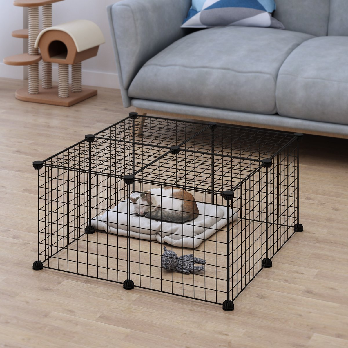 LANGRIA 24 pcs Metal Wire Storage Cubes Organizer, DIY Small Animal Cage for Rabbit, Guinea Pigs, Puppy | Pet Products Portable Metal Wire Yard Fence (Black) by LANGRIA (Image #1)