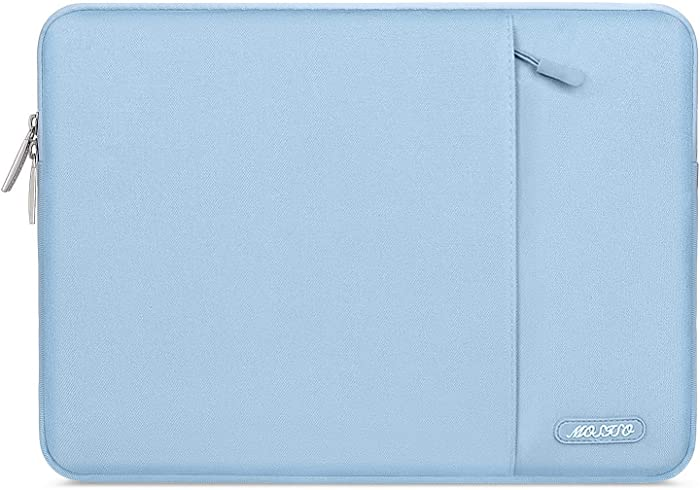 MOSISO Laptop Sleeve Bag Compatible with 13-13.3 inch MacBook Pro, MacBook Air, Notebook Computer, Water Repellent Polyester Vertical Protective Case Cover with Pocket, Airy Blue