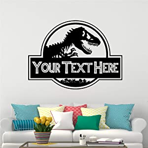 Adecals cool 22 x 30 inches Dinosaur Custom Name Wall Decals - Personalized Vinyl Stickers Decor Room Bedroom for Boys - Jurassic Park World Decorations DN1