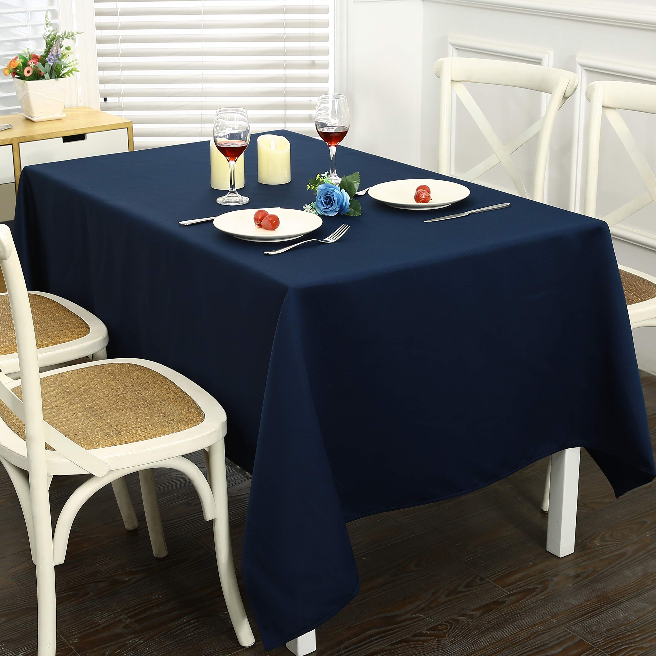 Obstal Rectangle Table Cloth, Oil-Proof Spill-Proof and Water Resistance Microfiber Tablecloth, Decorative Fabric Table Cover for Outdoor and Indoor Use (Navy Blue, 60 x 84 Inch) by Obstal (Image #8)