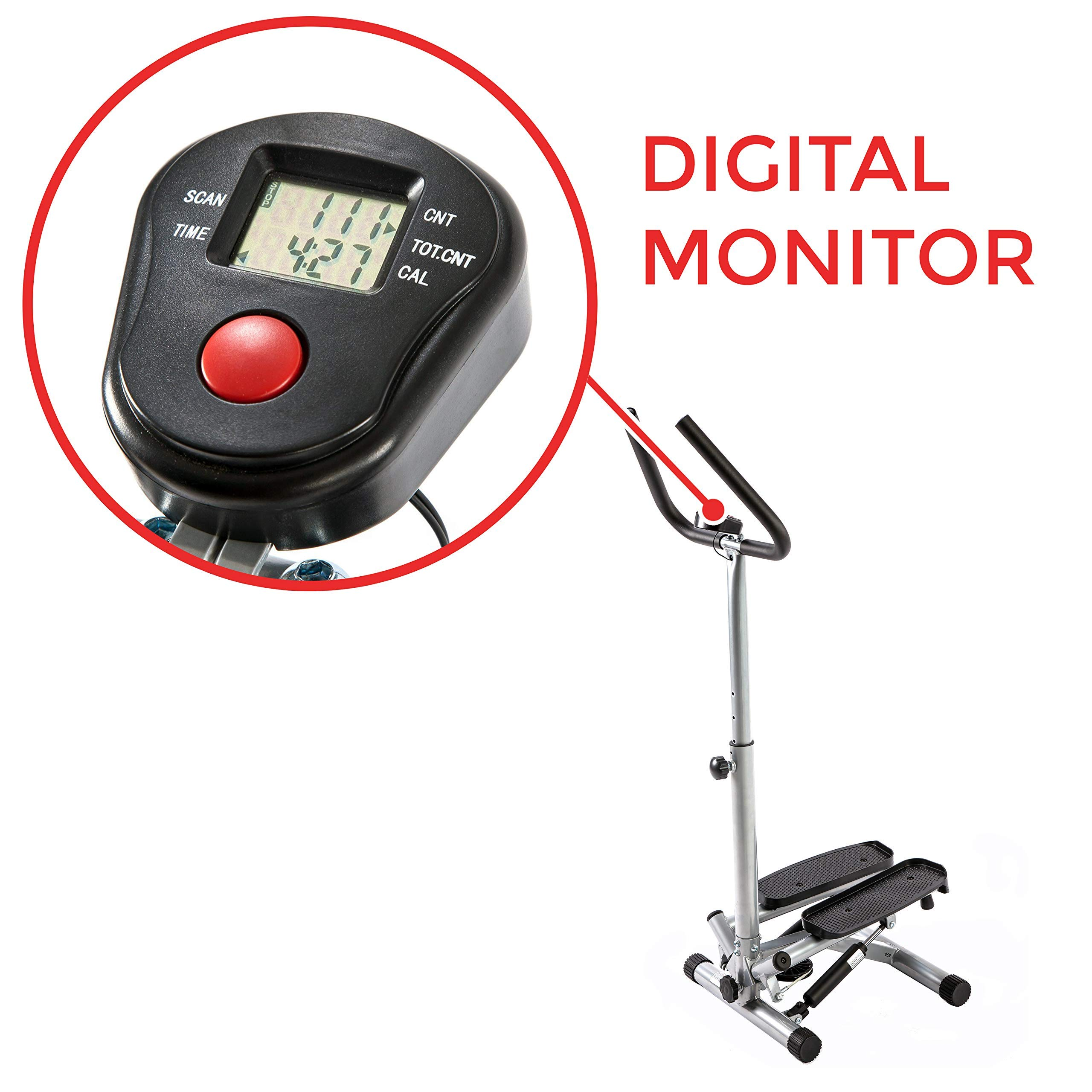 Sunny Health & Fitness NO. 059 Twist Stepper Step Machine w/Handle Bar and LCD Monitor (Renewed) by Sunny Health & Fitness (Image #4)