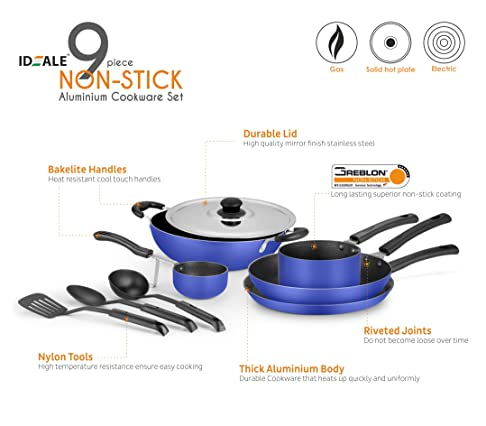 Ideale 9-Piece Non Stick Cookware Set-Ocean Blue Pot & Pan Sets at amazon