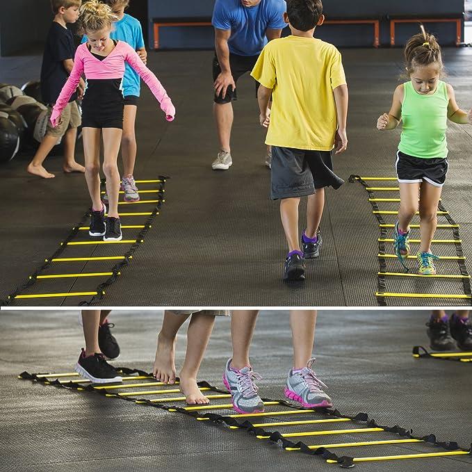u-powex escalera de agilidad velocidad formación escalera 19 ft Original rápida formación escalera de entrenamiento velocidad escalera de pie para mejorar la coordinación fuerza y destreza física con bolsa de transporte, peldaños