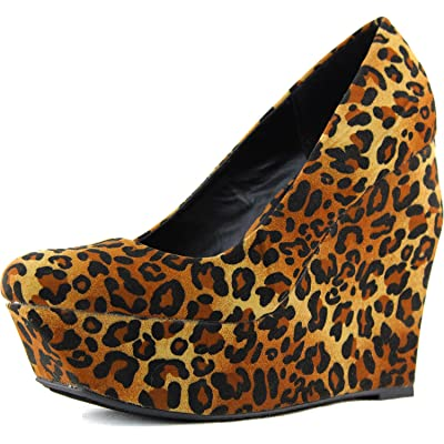 Qupid Women's Taken-01 Velvet Wedges High Heel Fashion Shoes   Pumps