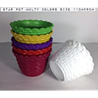 Malhotra Plastic 110030 Plastic Star Pot Set (Multicolored, 6-Pieces)