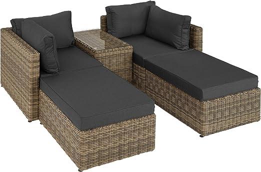 TecTake 800694 Sillón Doble de Ratán Aluminio, Muebles de Jardín, con Mesa, Multifunción, Combinación Versátil, Incl. Cojines (Natural   No. 403168): Amazon.es: Jardín