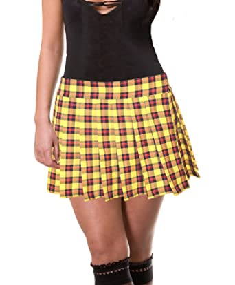 40b9c888edd55 Yellow Schoolgirl Tartan Plaid Pleated Mini Skirt Plus Unley - -   Amazon.co.uk  Clothing