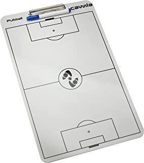 Cawila Klemmbrett Clipboard Fußball - Pizarra de fútbol para Entrenador de fútbol, Color Blanco,