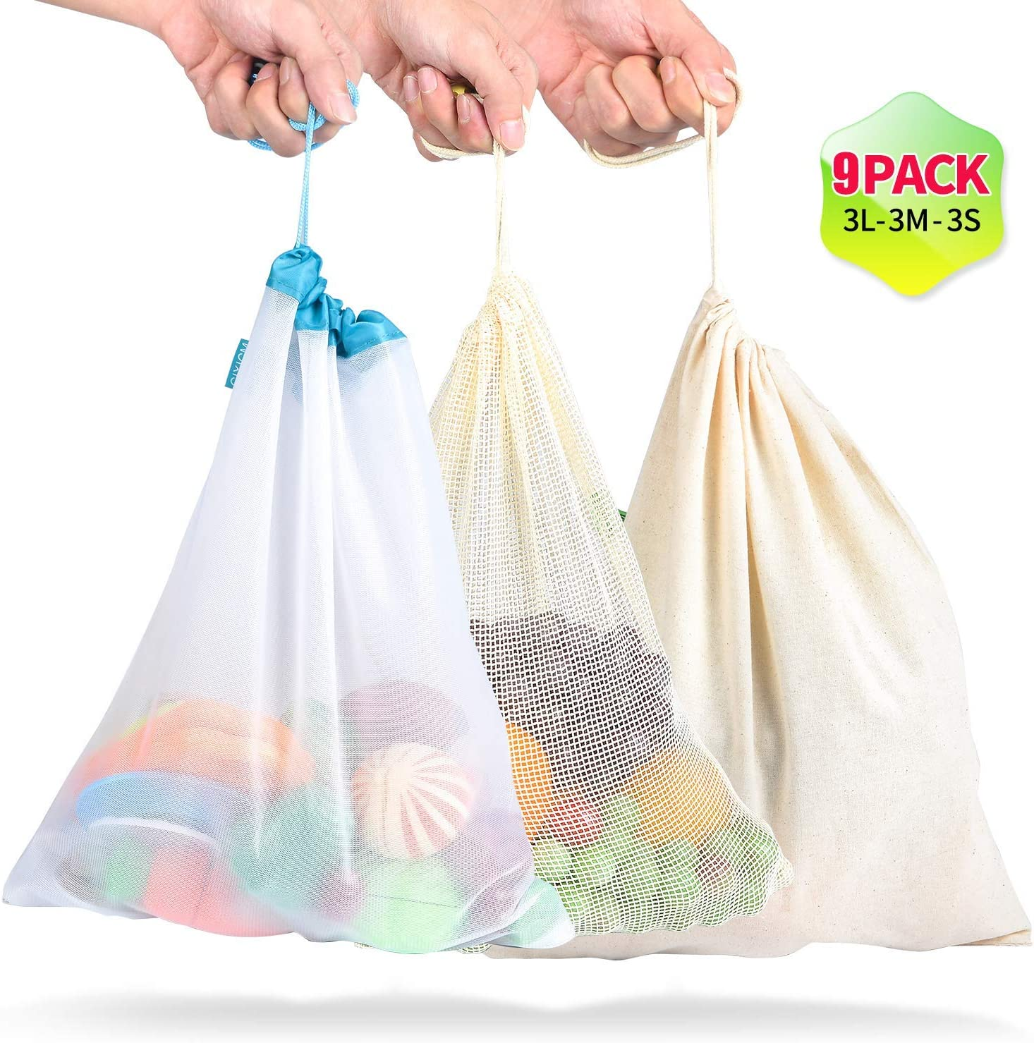 Cotton Mesh Produce Bags | 9Pcs Vegetable Bags | Reusable Mesh Grocery Bags with Drawstring | See-Through | Ecofriendly | Washable | Lightweight | Keeping Fruits & Veggie Fresh