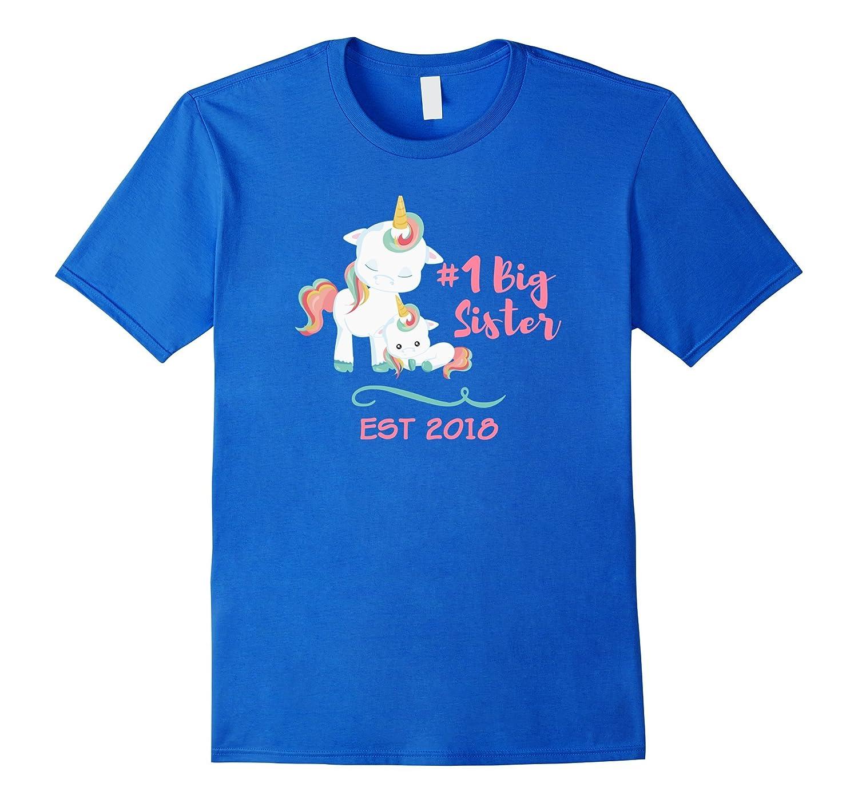 Big Sister Unicorn Baby Announcement Shirt 2018 for Girls-FL