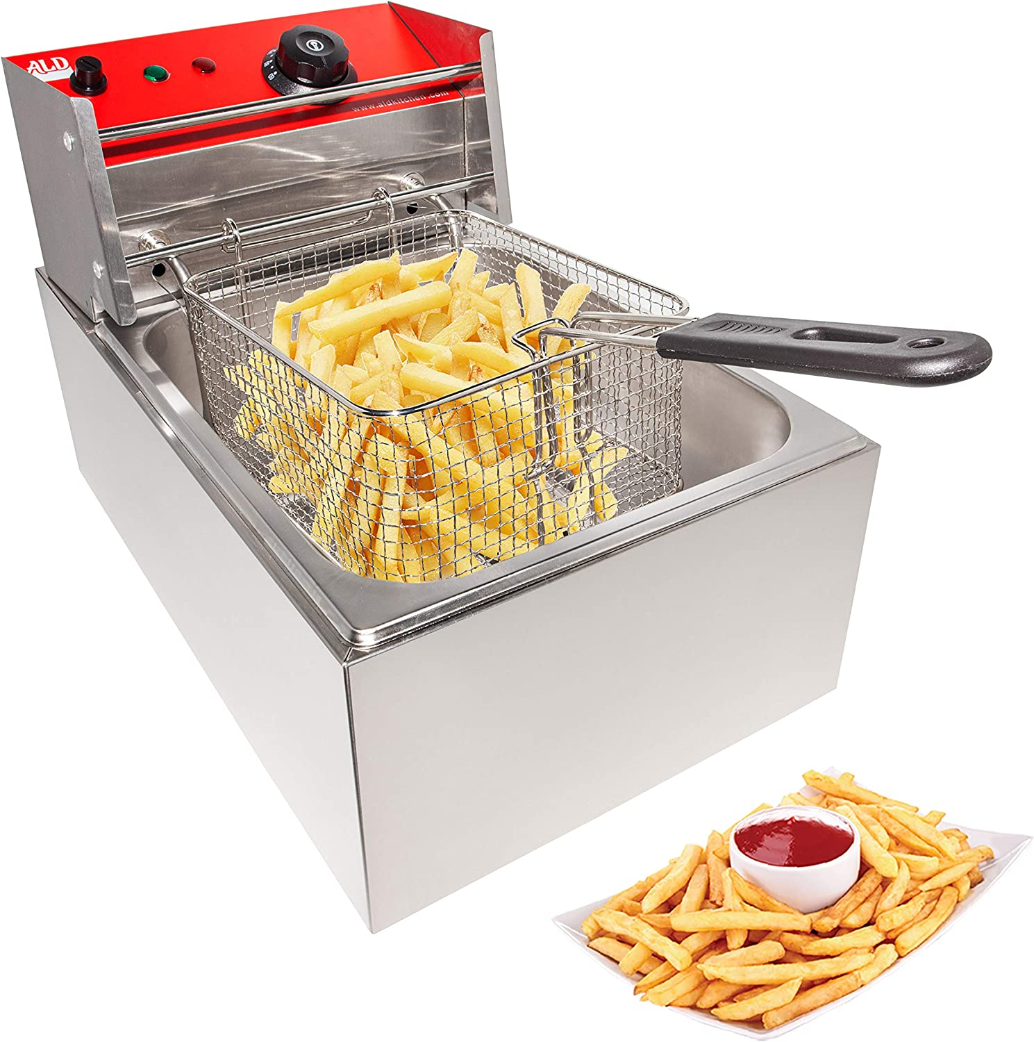 ALDKitchen Deep Fryer | Electric Fryer for Commercial Use | Cooking, Frying and Warming | Stainless Steel | 110V (1 Tank (6L))
