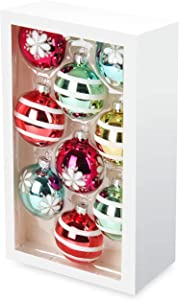 Costyleen Christmas Decoration Colorful Glass Balls Ornaments Set Festival Home Party Decors Xmas Tree Hanging Stripes Flowers Patterns 9pc Bright Rainbow Colors Printing 2.7in