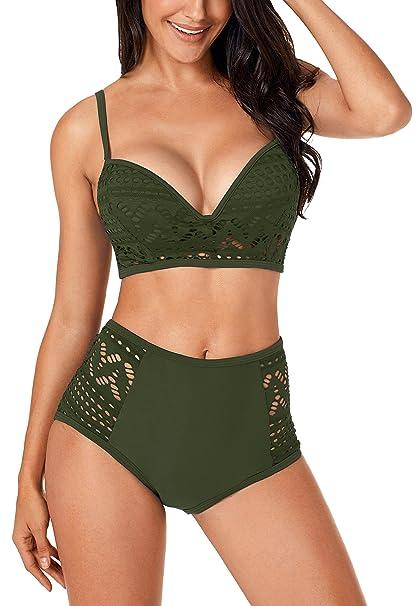 Amazon.com: Swiland Trajes de baño de dos piezas para mujer ...
