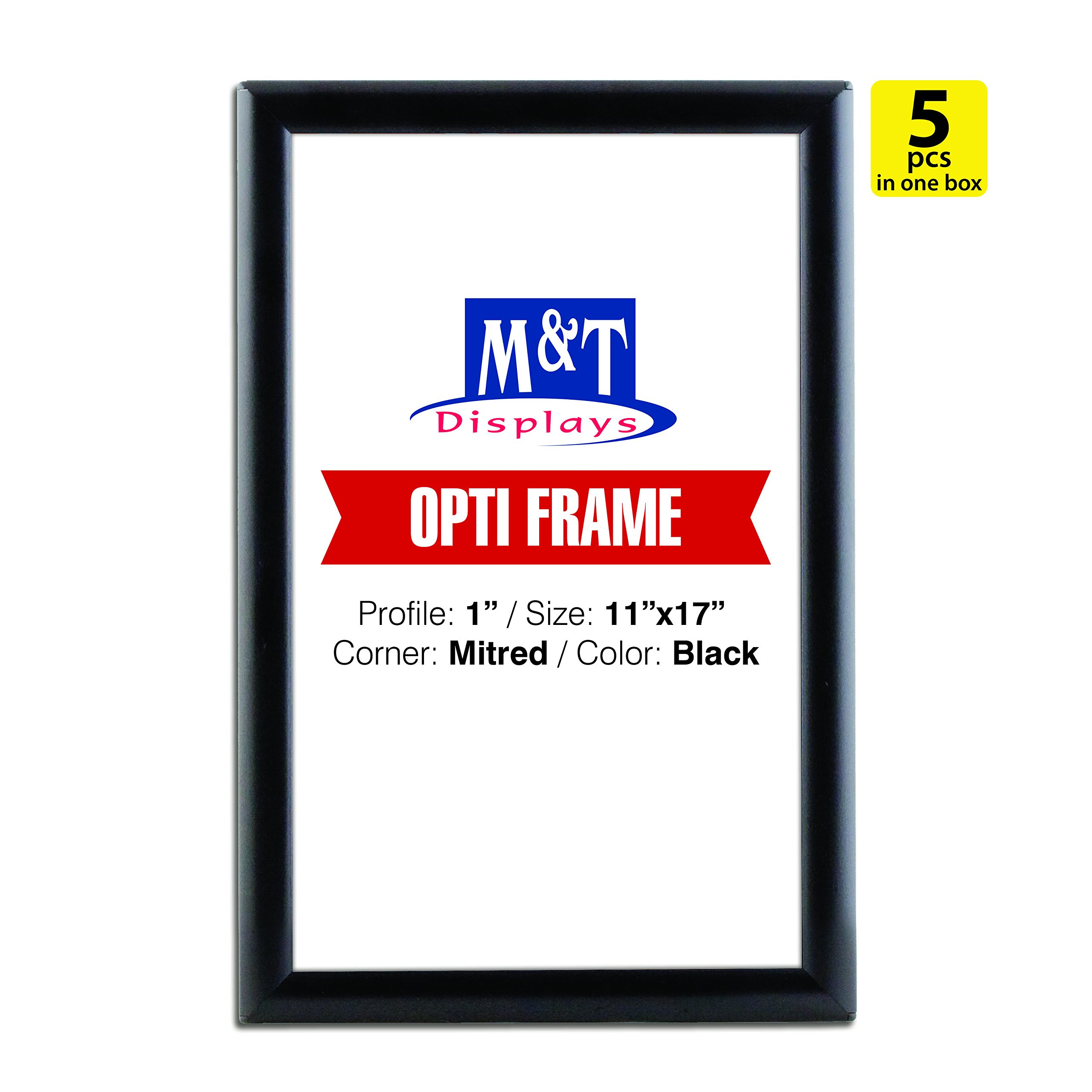 11x17 Snap Poster Frame, 1 inch Profile, Aluminum, Wall Mounted - Black / 5pcs, Easy Change, Front Loading
