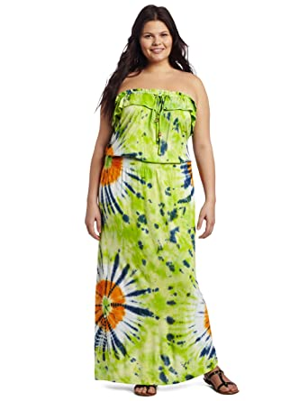 Southpole Juniors Plus Size Strapless Tye Dye Ruffle Accent Neckline