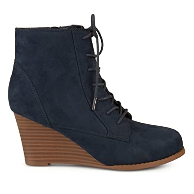 c6ab6bb882d Womens Lace-up Faux Suede Stacked Wedge Booties Blue