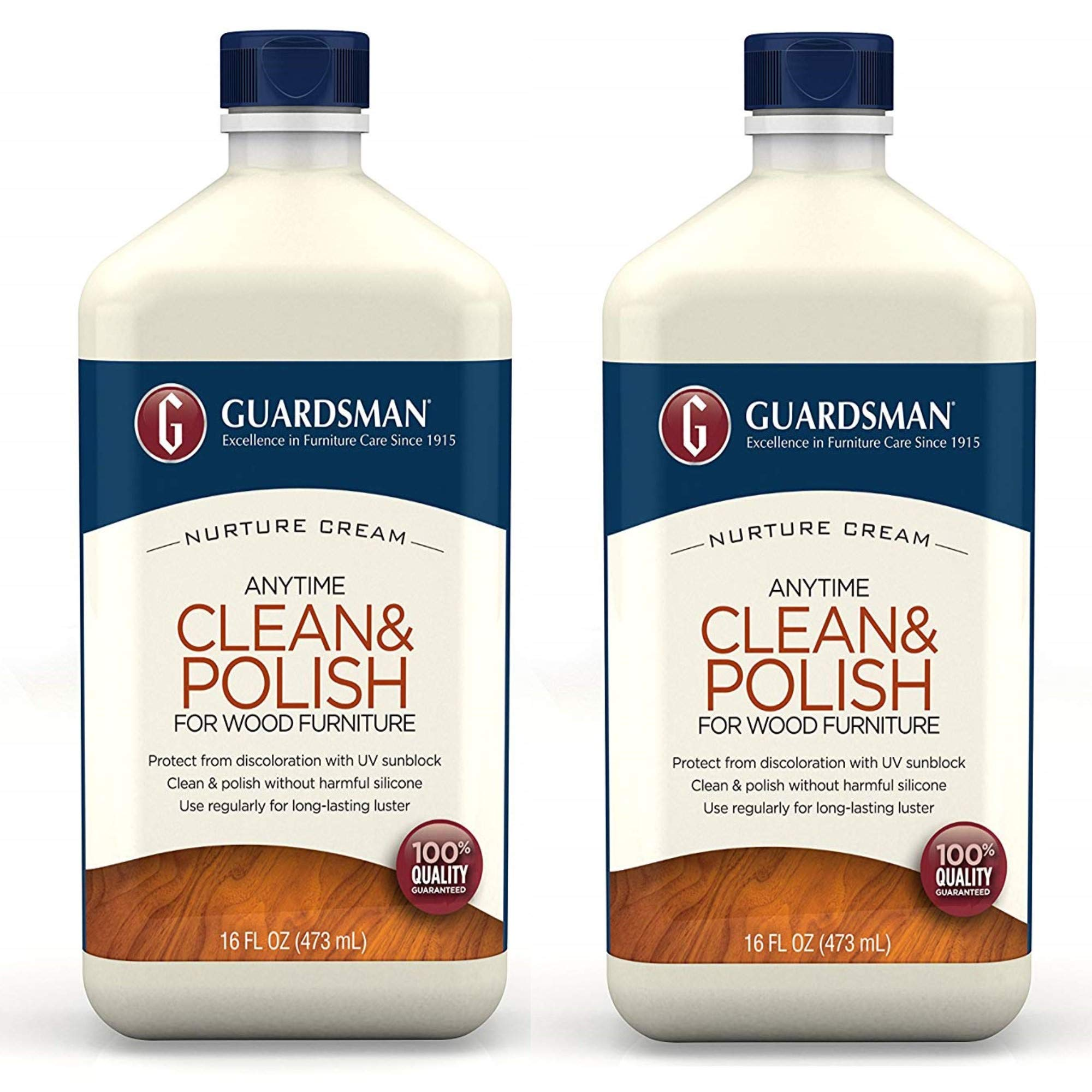 Guardsman Clean & Polish For Wood Furniture - Cream Polish 16 oz - Silicone Free, UV Protection - 461500-2 PACK