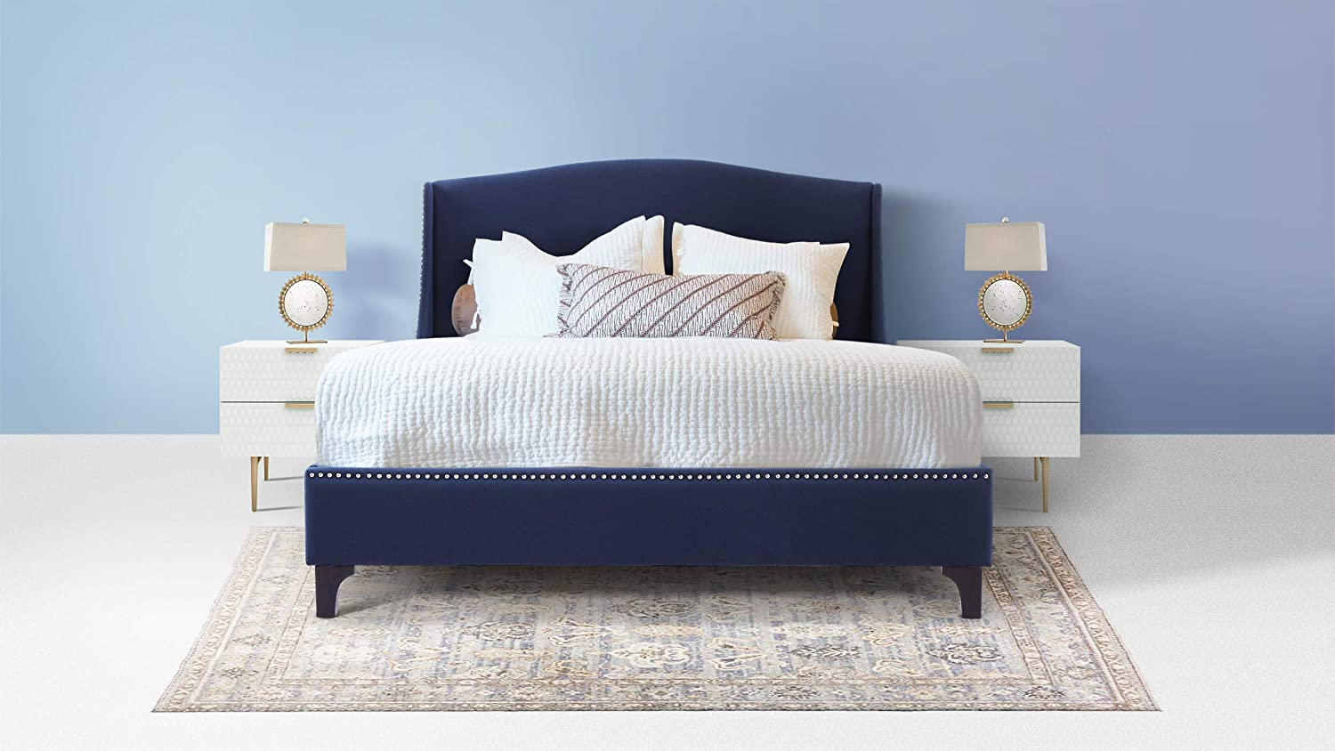 Amazon.com: Jennifer Taylor Home S52160-3-878-1 Everly Platform Bed Queen Midnight Blue: Kitchen & Dining