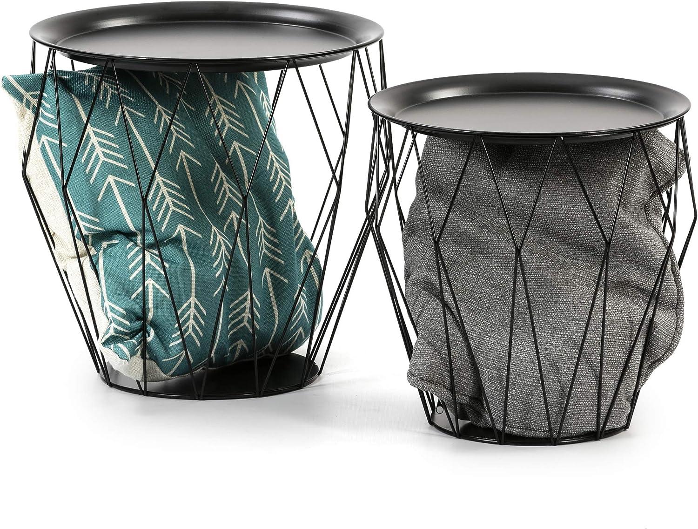 VS Venta-stock Set de 2 Tables Basses Kabul avec Plateau en Noir et Structure en m/étal en Noir.