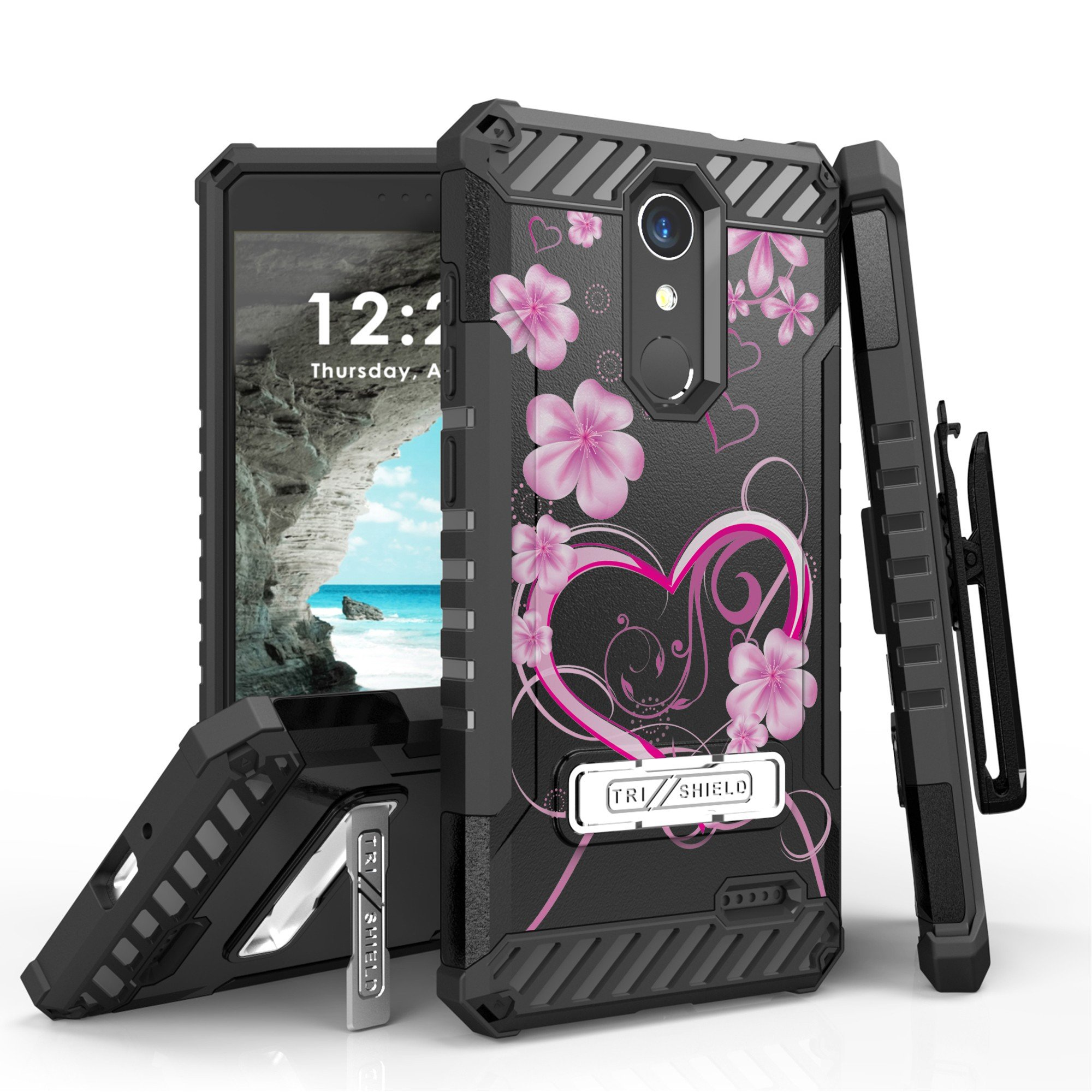 ZTE Grand X4, ZTE Blade Spark Case, Trishield Durable RuggedPhone Cover With Holster Detachable Lanyard Loop And Built in Kickstand Card Slot - White Rosy Heart