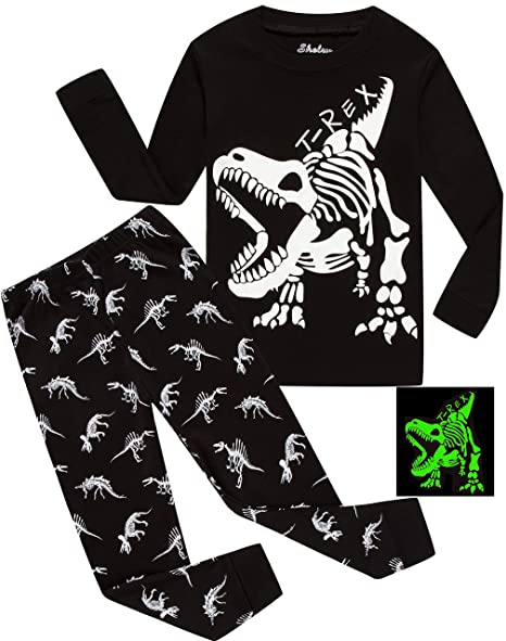 Children Pajamas Boys Glow in Dark Dinosaur Pj Cotton Sleepwear Set Toddler Kids Clothes Size 5