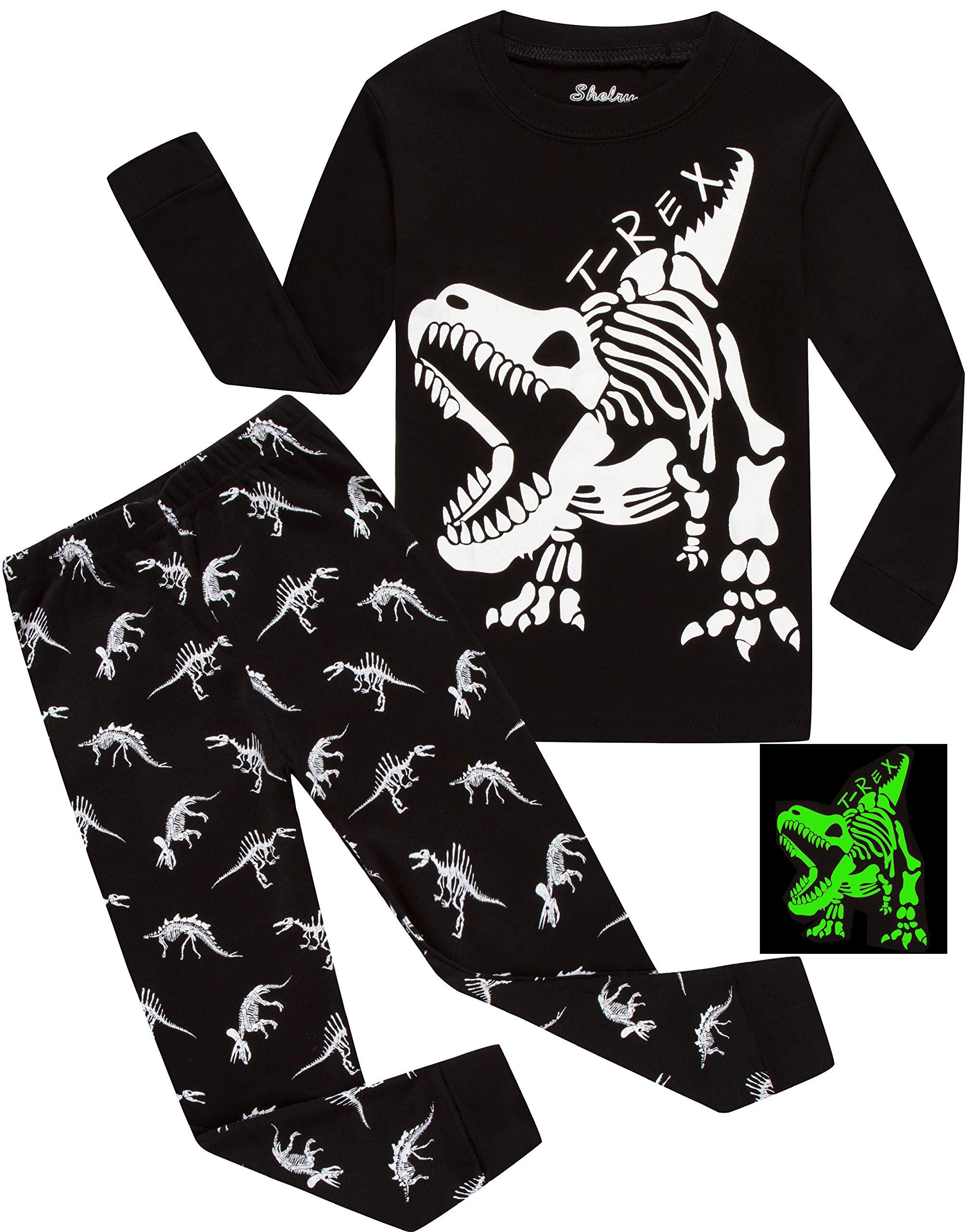 Children Pajamas Boys Glow in Dark Dinosaur Pj Cotton Sleepwear Set Toddler Kids Clothes Size 7