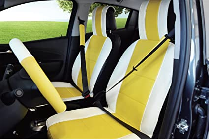 UNNIE UNIVERSAL ARTIFICIAL LEATHER WHITE YELLOW FRONT SEAT COVERS With Free Steering Wheel Cover