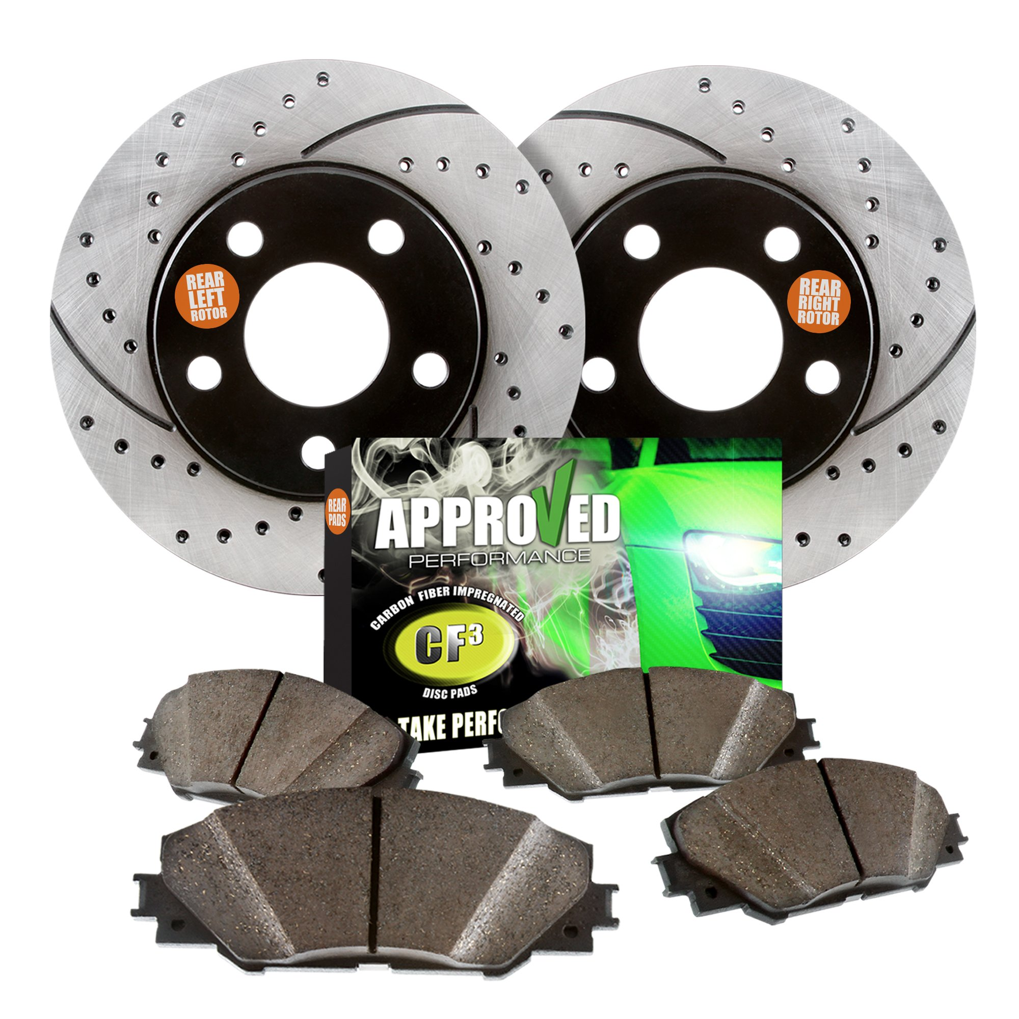 Approved Performance E12964 - [Rear Kit] Premium Performance Drilled/Slotted Brake Rotors and Carbon Fiber Pads