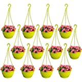 TrustBasket Colourful Plastic Hanging Basket with Bottom Saucer (Yellow) - Set of 12