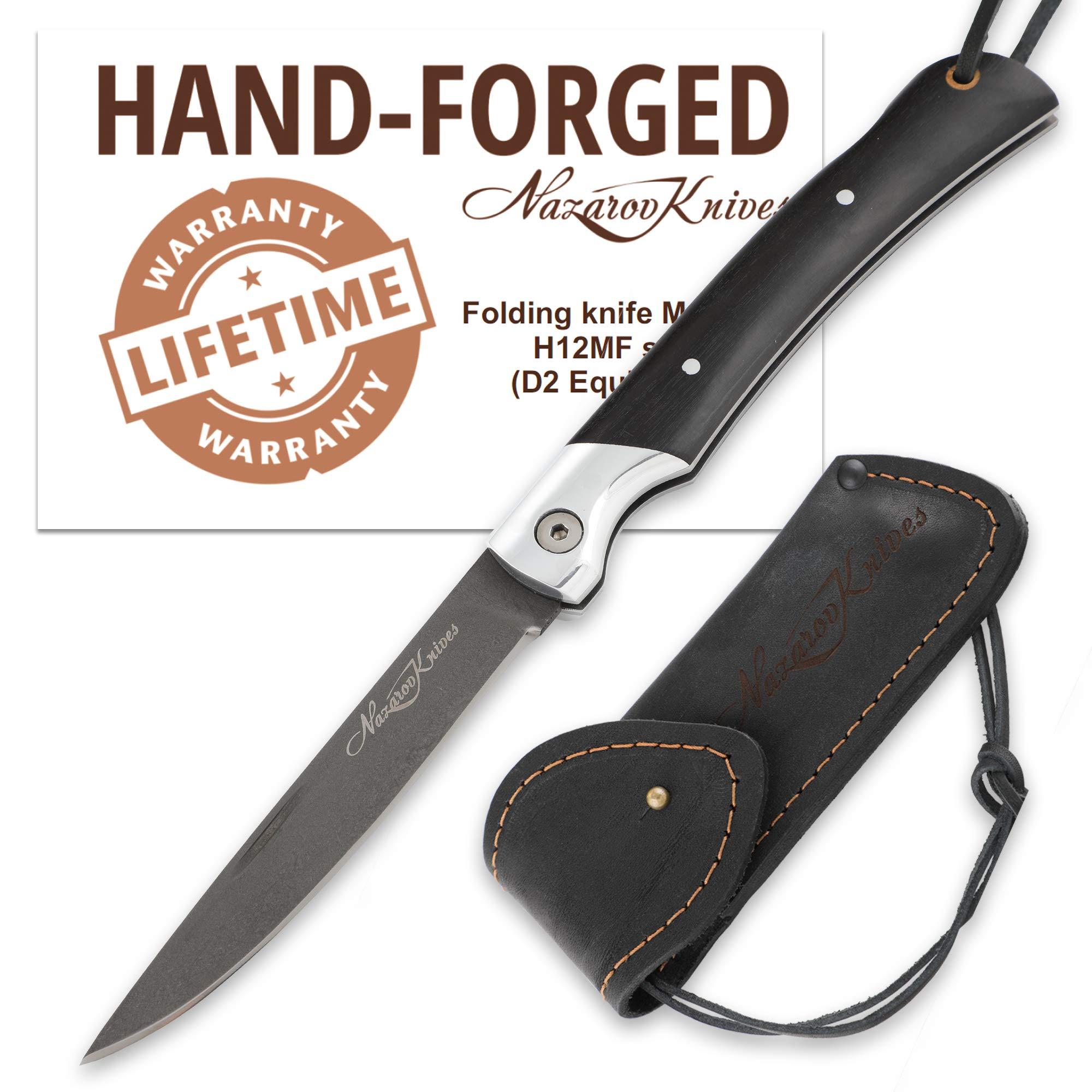 Folding Knife - Slender Designed Blade - D2 Steel - Razor Sharp - Hornbeam Handle - Leather Sheath