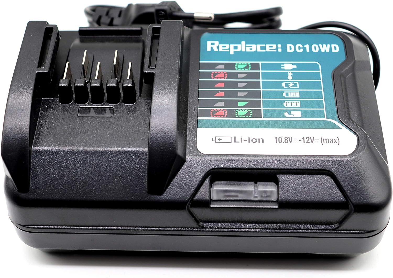 FengWings/® 12V cargador DC10WD 197371-5 Reemplace el cargador Compatible con el cargador Makita 12V BL1015 BL1016 BL1021B 197396-9 BL1041B 197406-2 Bater/ía