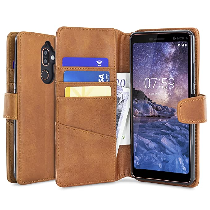 uk availability 80580 23d3e Amazon.com: Olixar Nokia 7 Plus Wallet Case - Genuine Leather - Slim ...
