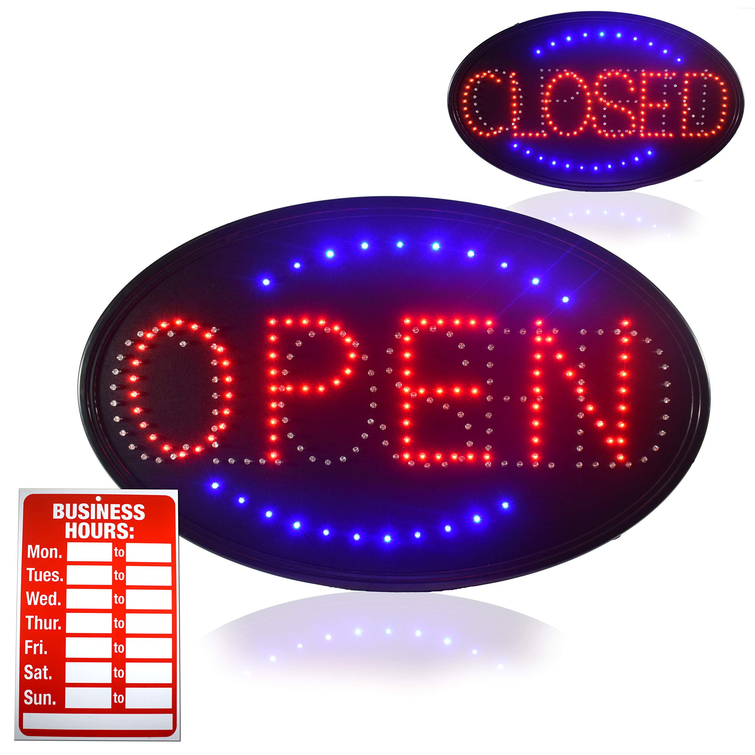 OPEN LED SIGN, Jumbo 23'' X 14'' Open Sign Advertisement Board with Electric Powered Display and Ultra Bright Light and a Modern Design, Perfect for Coffee Shop, Bar, Hotel, Restaurant, Drugstore & more