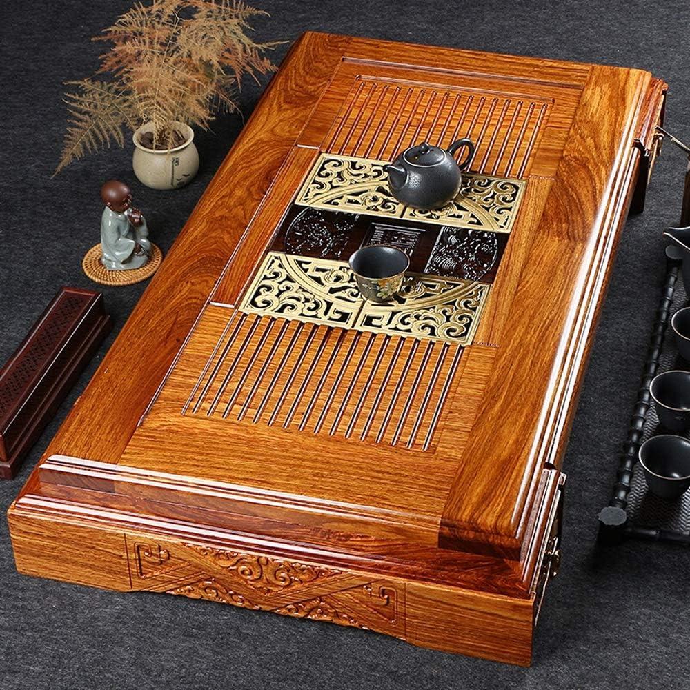 木製サービングティートレイ 木製茶トレイの中国Gongfu茶を引き出し絶妙な中国人が設計されていティーポットTrivetsカッププラットカービングでトレイをサービング (色 : Natural, サイズ : 98x52x13cm)