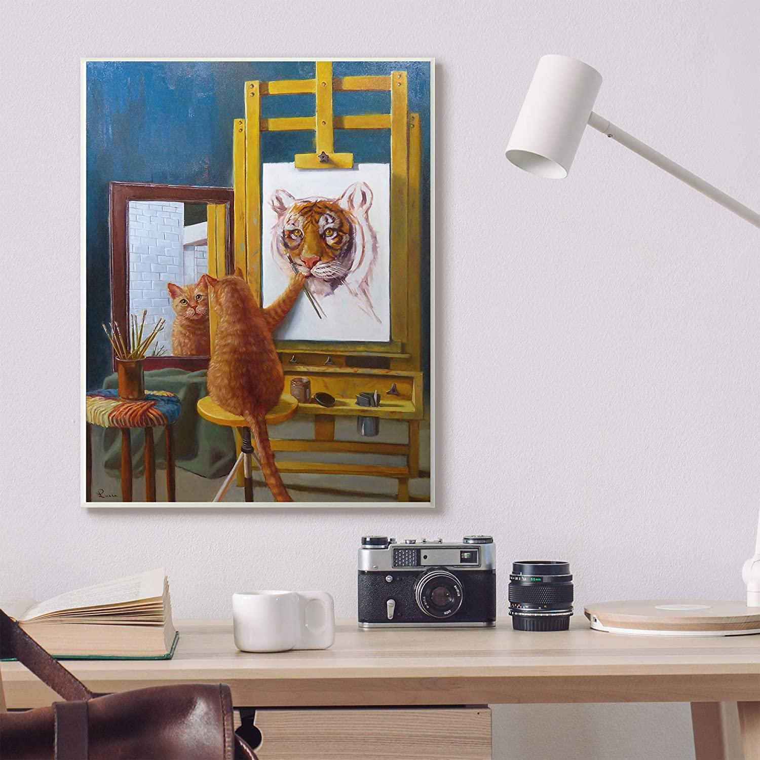 The Stupell Home D/écor Collection Cat Confidence Self Portrait as a Tiger Funny Painting Stretched Canvas Wall Art 16 x 20 Multi-Color