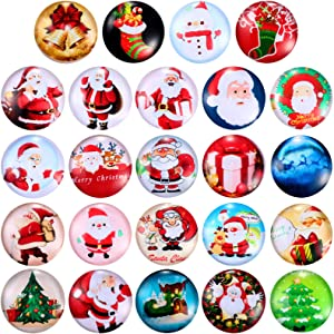 24 Pieces Christmas Magnets 3D Glass Fridge Magnets Xmas Decorative Refrigerator Magnets Small Multi-Color Office Magnets for Refrigerator Whiteboard and Christmas Party Decor
