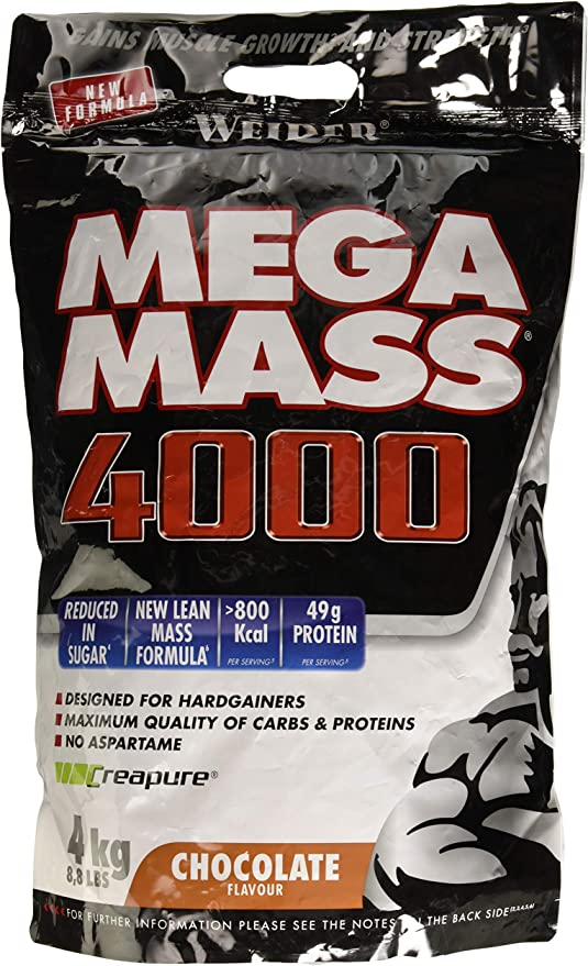 Weider Mega Mass 4000 Sabor Chocolate (4000 g). 69% de hidratos ...