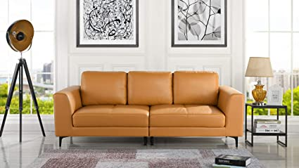 Phenomenal Amazon Com Mid Century Modern Upholstered Leather Sofa Camellatalisay Diy Chair Ideas Camellatalisaycom