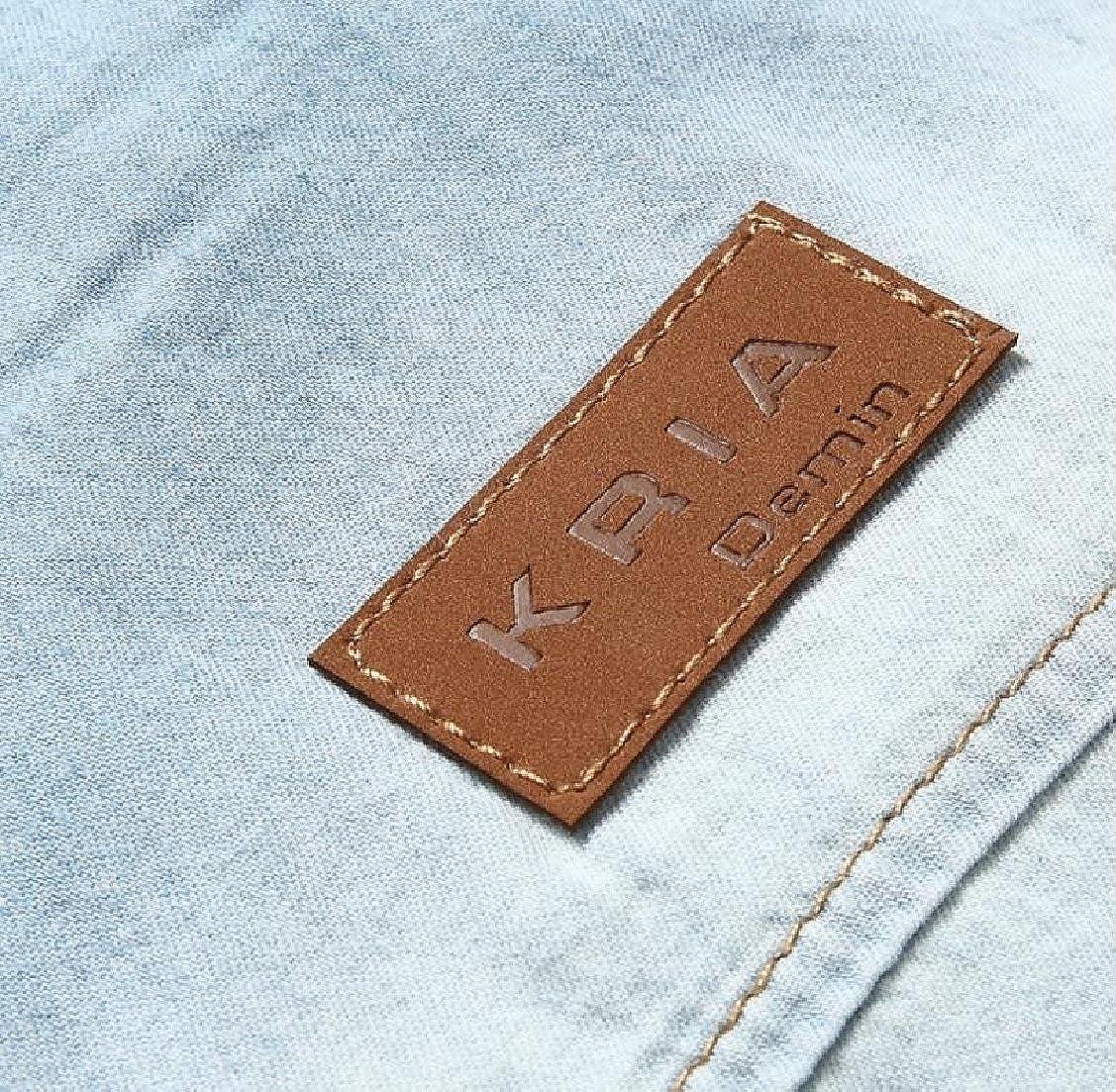 Yayu Mens Casual Button Down Jeans Shirt Long Sleeve Denim Work Shirts