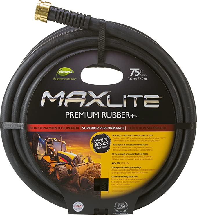 Amazon.com : Swan Products Element CELSGC58075 MAXLite Premium Rubber Heavy Duty Water Hose 75 ft, 5/8