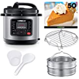 GoWISE USA 8-Quarts 12-in-1 Electric Pressure Cooker + 50 Recipes for your Pressure Cooker Bookwith Measuring Cup, Stainless Steel Rack and Basket, Spoon (Stainless Steel)