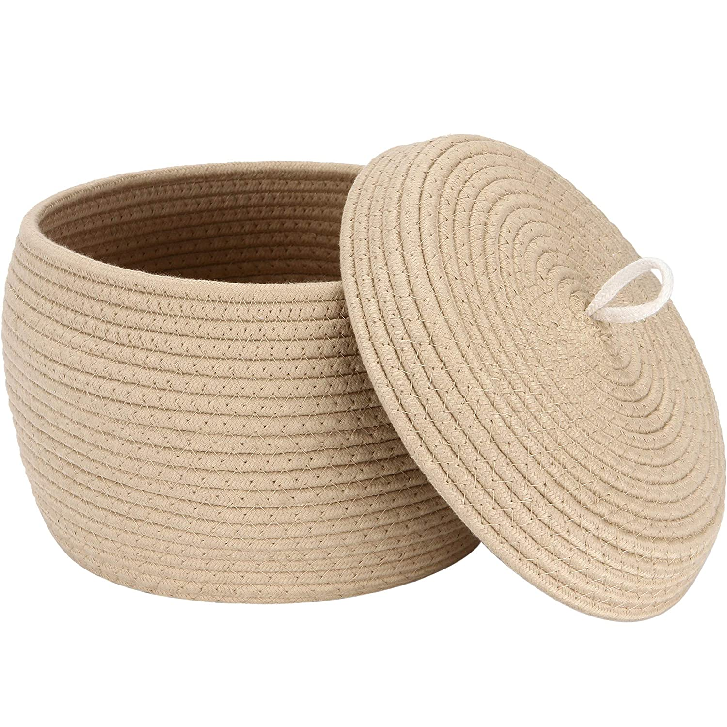Sea Team Round Cotton Rope Storage Basket with Lid, Decorative Woven Storage Bin, Pot, Caddy, Organizer, Container for Snacks, Towels, Plants, 10 x 7.5 Inches (Small Size, Khaki)