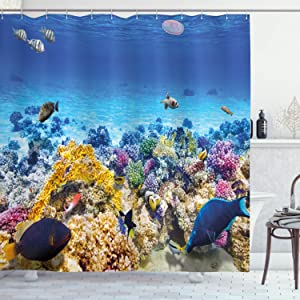 """Ambesonne Fish Shower Curtain, Underwater Sea World Scene with Goldfish Starfish and Jellyfish Depth Diving Concept, Cloth Fabric Bathroom Decor Set with Hooks, 84"""" Long Extra, Turquoise"""