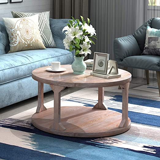 Amazon Com P Purlove Round Rustic Coffee Table Wood Storage